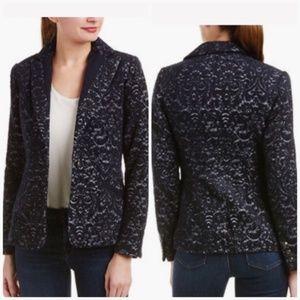 CAbi #109 Plush Navy Blue Wool Jacquard Jacket